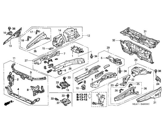 Панель передняя Honda Accord 7 (2002-2007)