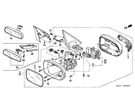 Зеркало левое Honda Accord 7 (2002-2007)