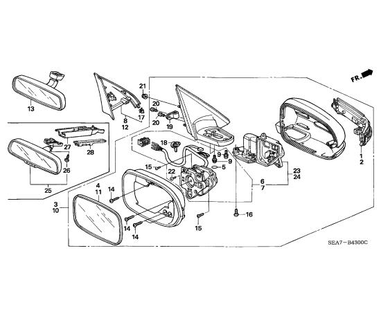 Зеркало правое Honda Accord 7 (2002-2007)
